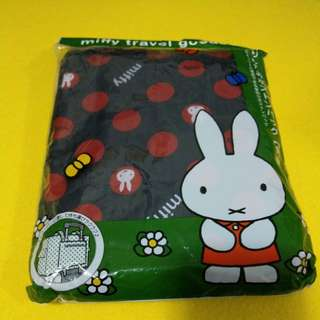 Miffy travel goods siffler HAPITAS 摺疊旅行袋 Travel Bag 藍底紅波點 長方型款