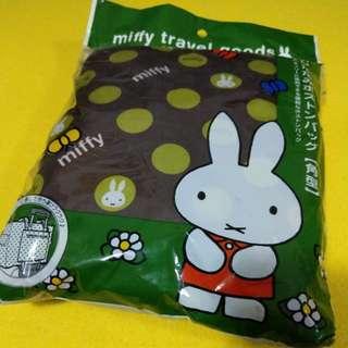 Miffy travel goods siffler HAPITAS 摺疊旅行袋 Travel Bag 啡綠波點 長方型款