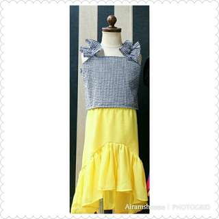 Gingham Top and Asymmetric Yellow Skirt (2-3 yrs old)