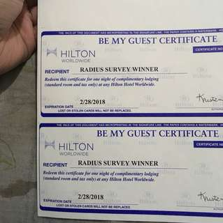 RUSH!!! Hilton Hotel Be My Guest Certificate