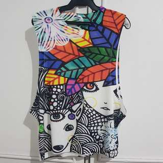 Colorful printed sleeveless top