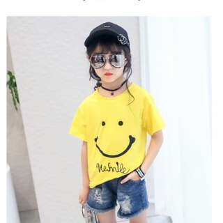 Korean Short Sleeve Cotton Loose Smile Printing T-shirt #Bajet20