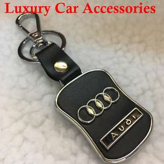 AUDI METAL CAR LOGO LEATHER KEYCHAIN KEYRING KEY CHAIN RINGS