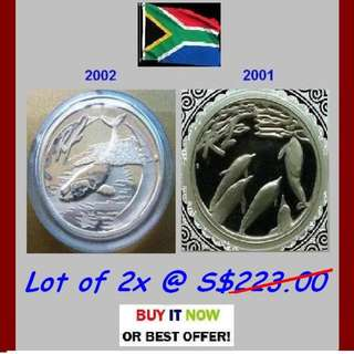 S. Africa R2 Rand, 2001 / 02 Marine Series - 2x 1 Oz + Troy / Grams (999) Fine Silver Proof coins (bars* ref)