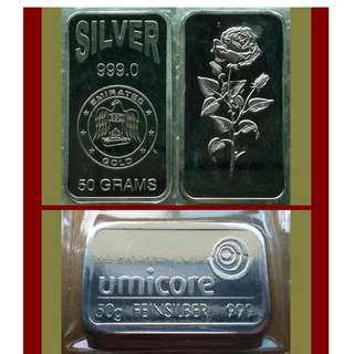 ♠ Classic Mix, 1 Lot - 2x 50 Grams (100g / 3.21 Oz T) 999 Fine Silver ingot Art bars (coins* ref)