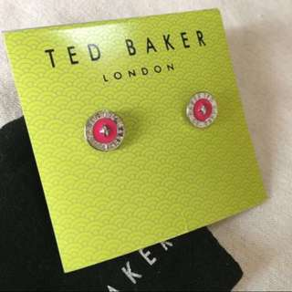 (NEW) Ted Baker Tempany Enamel Logo Button Silver/Sharp Pink Stud Earrings