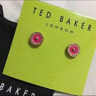 (全新) Ted Baker Tempany Enamel Logo Button Stud Earrings