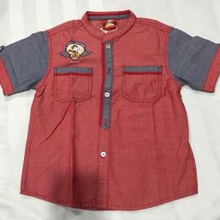 Snoppy baju merah kancing