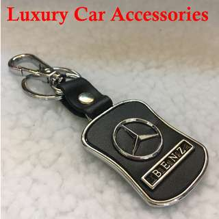 BENZ METAL CAR LOGO LEATHER KEYCHAIN KEYRING KEY CHAIN RINGS