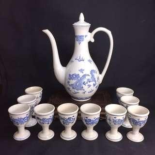 Vintage Blue & White Double Dragon Wine Set