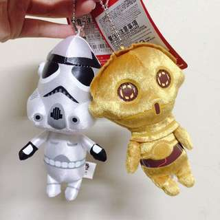 🚚 全新星際大戰Star Wars 帝國風暴兵 c-3po 娃娃吊飾