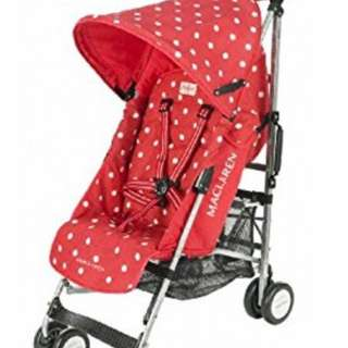 Authentic Maclaren Cath Kidson Buggy Stroller, Red Spot