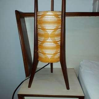 vintage mid century wooden lamp