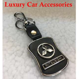 MITSUBISHI METAL CAR LOGO LEATHER KEYCHAIN KEYRING KEY CHAIN RINGS