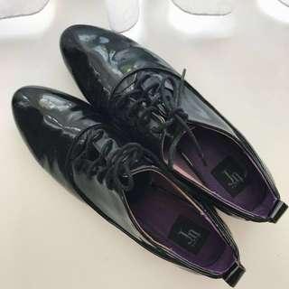 ZARA Black Patent Oxford Shoes