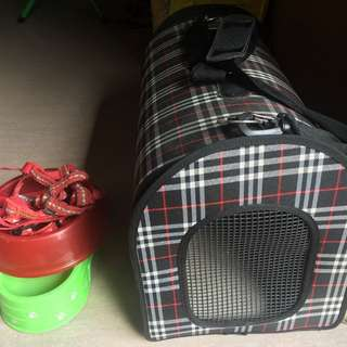 REPRICED!!! Dog Bag + Harness And Bowls