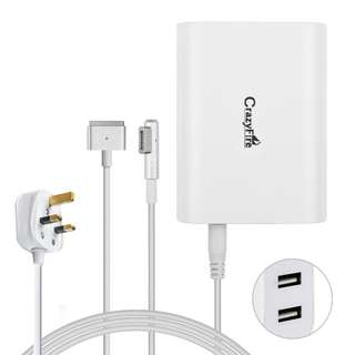 "60W Magsafe Power Charger with 2 USB,CrazyFire Replacement AC Adapter for Macbook Pro 13"" 15"",A1181,A1184,A1278,A1425(2 Magsafe Connector Cable Included)"