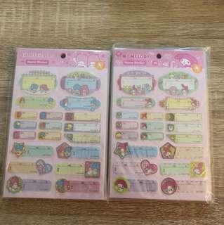 sanrio name stickers