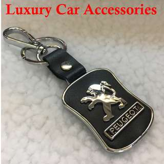 PEUGOET METAL CAR LOGO LEATHER KEYCHAIN KEYRING KEY CHAIN RINGS