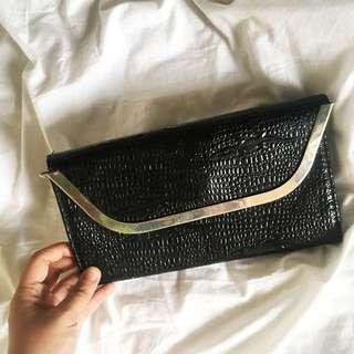 Black Crocodile Clutch Bag