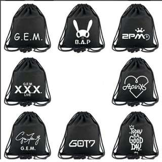 Preorder - BAP,APINK,2 PM,GOT 7 DRAWSTRING BAG *PLEASE CHOOSE MEMBER exc.pos
