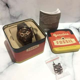 Fossil Ansel Stainless Steel Chrono Watch Brown