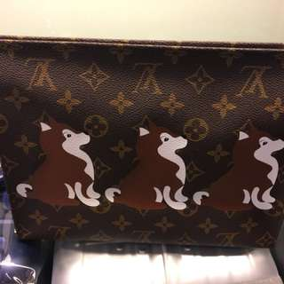 LV Monogram Canvas Toiletry Bag Shiba Dog