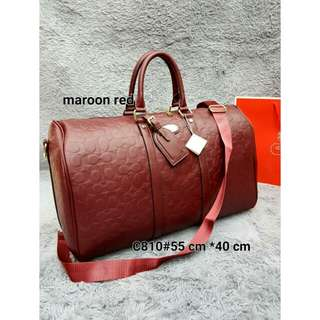 COACH TRAVEL BAG (MAROON RED)