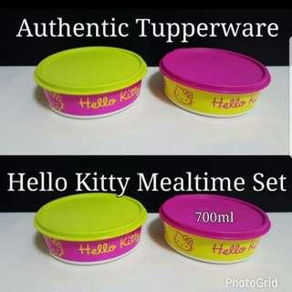Authentic Tupperware  Hello Kitty Mealtime Set   Comprises : Hello Kitty Bowl 700ml (2) 16.5cm x 5.5cm  Selling @$18.00/set