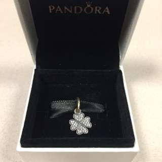 New Pandora silver four leaf clover charm