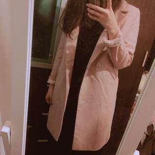 🚚 優雅粉色修身棉質西裝外套