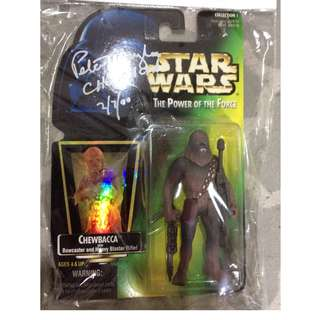 Vintage Chewbacca action figure signed by Peter Mayhew