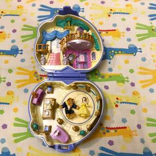 Vintage polly pocket 1995 beauty and the beast from disney bluebird