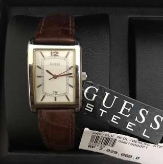 Guess Brown Genuine Leather Watches / Jam Guess