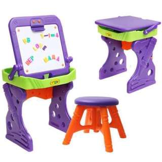 🖍TOYSRUS🖍 Crayola My First Art Studio Convertible Magnetic Whiteboard Table/ Desk/ Easel C/W Chair/ Stool + Alphabets + Numbers