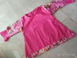 Atasan pink bunga