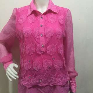 Pink floral with silver bead design casual office wear large