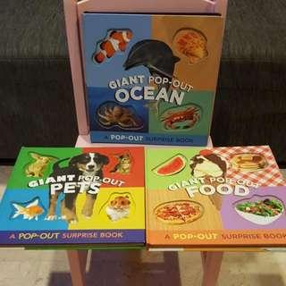 Giant Pop-Out Surprise Book Bundle Of 3 (Titles: Food, Pets & Ocean)