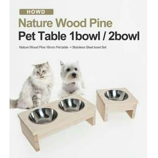 Wooden pet table with stainless steel bowl