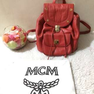 Authentic MCM Red Backpack