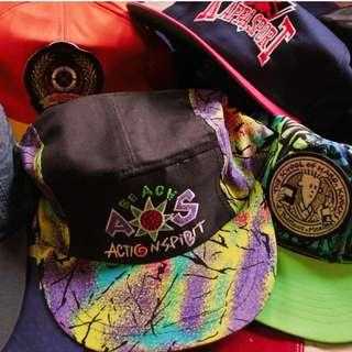 Vintage 90's ASICS Snapback  亞瑟士彩色潑墨噴漆復古棒球帽 全新庫存