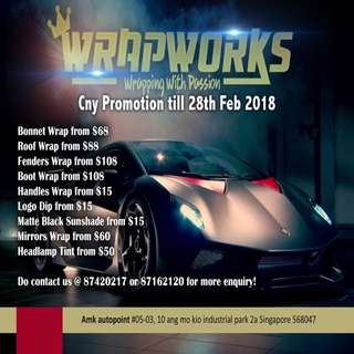 CNY is coming!! Hope to get your ride be done up nicely? Hurry up do head down and look for us!! Promotion ends till 28th feb 2018!! Do contact us @ 87420217 / 87162120! #wrapworks #wrapworkssingapore #dailyjob #cnypromo #paintisdead