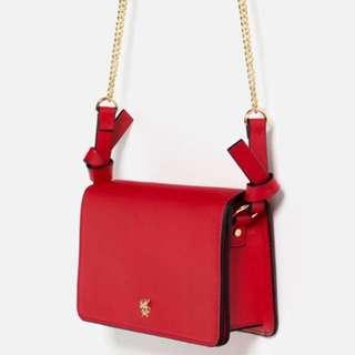 ZARA Red chain sling bag