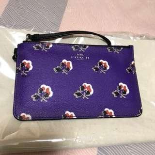 Coach 紫色花花銀包