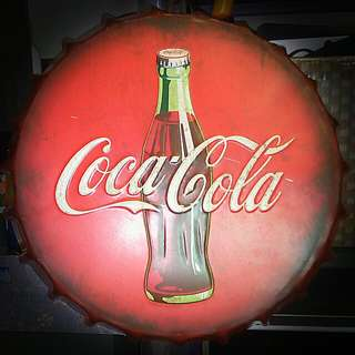 Finest Quality Coke cap 42cm. Large Coca Cola Embossed display sign. Baked Enamel.