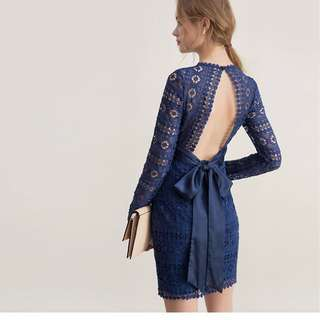 AIRSPACE X CHIAO Navy lace tie back dress