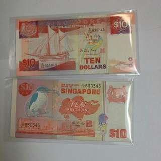 CNY NOTES EXCHANGE Singapore Bird And Ship Series $10 Notes Unc New Notes Running Numbers