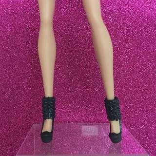 Barbie Doll Shoes (Sale) - Black Ankle Cuff Platform Heels