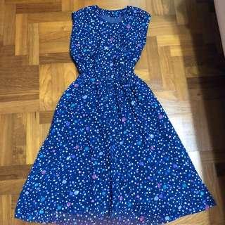 Vintage Retro Floral Dot Textured Dress
