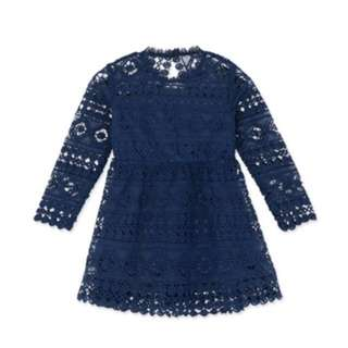 AIRSPACE X CHIAO Navy Blue Lace Dress (Toddler)